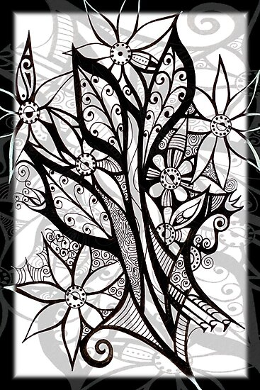 Petal Patterns in Black and White by MelDavies
