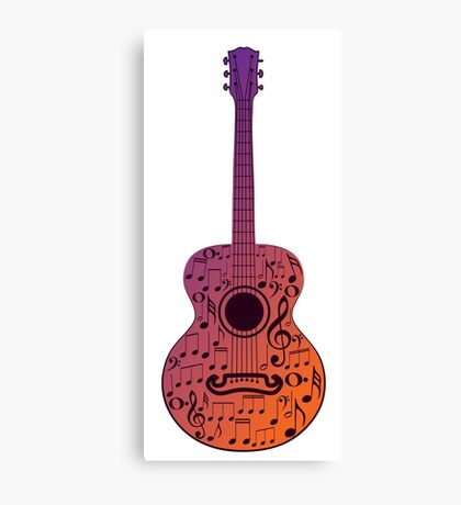 Guitar and Music Notes 3 Canvas Print