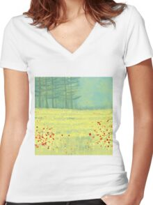 Meadow near Périgueux Women's Fitted V-Neck T-Shirt