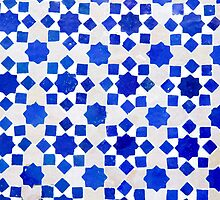 Traditional blue geometric tile by oonal