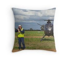 Ground Controller & Hughes 500 Helicopter Throw Pillow
