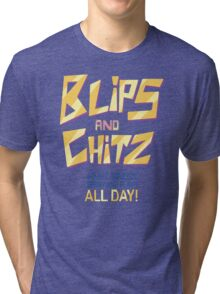 Blips and Chitz Il (text) Tri-blend T-Shirt
