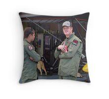 Pilots Relax at Hangar 19 Throw Pillow