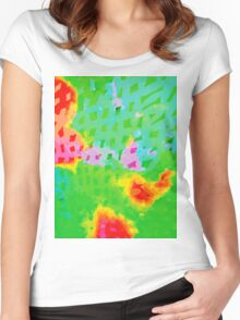 Colorful Abstract Watercolor Painting Background Women's Fitted Scoop T-Shirt