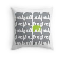 One Green Elephant in the Herd Throw Pillow