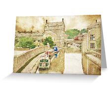 Skipton Canal Barges Greeting Card