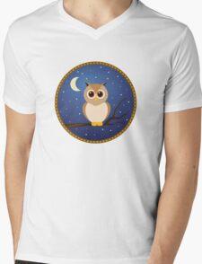 Brown Owl in Blue Night Sky Mens V-Neck T-Shirt
