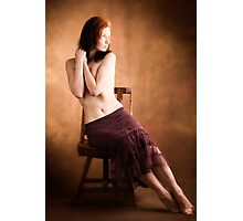 Red Headed Girl on Wooden Chair Photographic Print