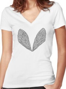 Black Cicada Wings Women's Fitted V-Neck T-Shirt