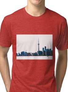 Toronto Skyline Graphic with Rogers Centre Tri-blend T-Shirt