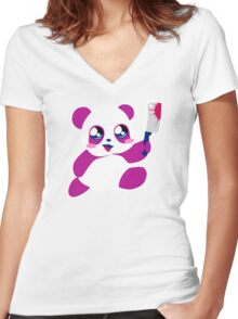 kawaii panda will KILL YOU!  Women's Fitted V-Neck T-Shirt