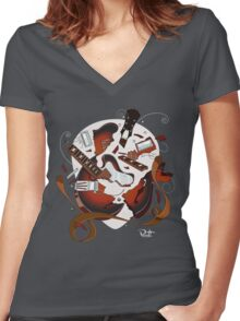 Smashed Guitar Women's Fitted V-Neck T-Shirt