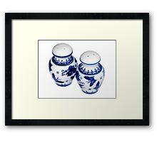 Blue and White Salt & Pepper Shakers Framed Print