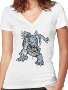 "ZOMBIE FISH Monster ""T-Shirt"" Women's Fitted V-Neck T-Shirt"