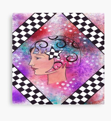 Whimiscal Girl with Checkerboard Border Canvas Print