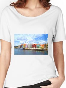 Pastel Colors of the Caribbean Coastline in Curacao Women's Relaxed Fit T-Shirt