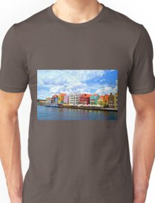 Pastel Colors of the Caribbean Coastline in Curacao Unisex T-Shirt