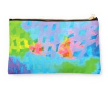 Abstract Blue Green Colorful Water Color Painting Background Studio Pouch