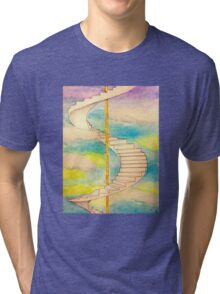 Fantasy Stairs Watercolor Tri-blend T-Shirt