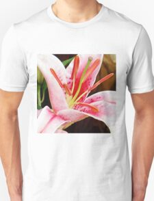 Macro Pink and White Lilly Flower in the Garden T-Shirt