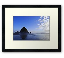 Low Tide at Haystack Rock Framed Print