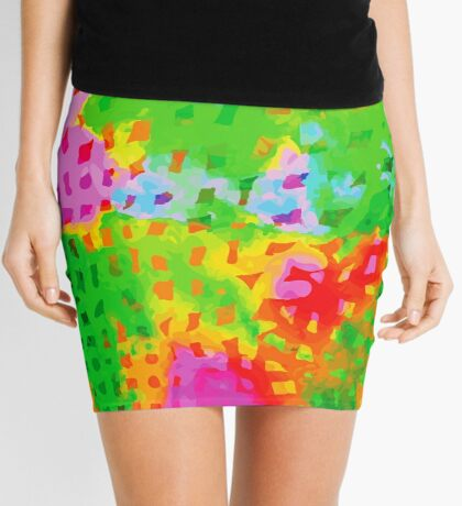 Multicolor Abstract Watercolor Painting Mini Skirt