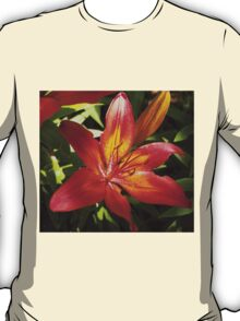 Glowing Fiery Red Lilly in the Garden T-Shirt