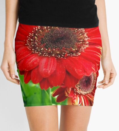Giant Red Gerber Daisy Flower in the Garden Mini Skirt