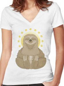 Tranquility Sloth Women's Fitted V-Neck T-Shirt