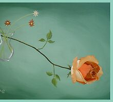 Rose daisies vase by TranquilArt