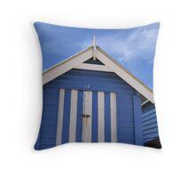Blue Bathing Box Throw Pillow
