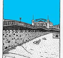 Brighton seafront in blue by Emma Bennett