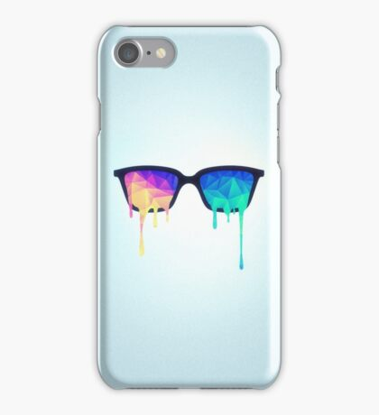 Psychedelic Nerd Glasses with Melting LSD/Trippy Color Triangles iPhone Case/Skin