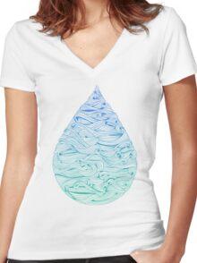 Ombré Droplet Women's Fitted V-Neck T-Shirt