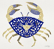 Crab – Navy & Gold by Cat Coquillette