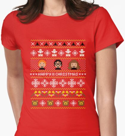 Magical Ugly Christmas Sweater + Card Womens Fitted T-Shirt