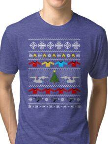 Captain's Christmas Sweater + Card Tri-blend T-Shirt
