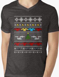 Captain's Christmas Sweater + Card Mens V-Neck T-Shirt