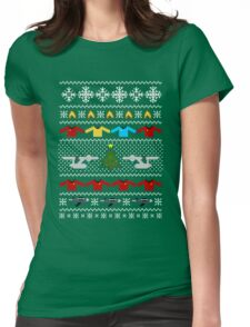 Captain's Christmas Sweater + Card Womens Fitted T-Shirt
