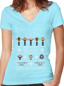 Next Ugly Space Christmas Sweater Women's Fitted V-Neck T-Shirt
