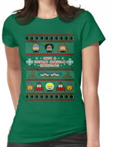 Totally Awesome Ugly Christmas Sweater + Card Womens Fitted T-Shirt