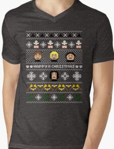 Evil Magical Ugly Christmas Sweater + Card Mens V-Neck T-Shirt