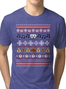 Animal Town Christmas Sweater + Card 2 Tri-blend T-Shirt