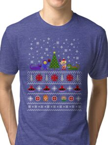 80s Christmas Sweater + Card Tri-blend T-Shirt