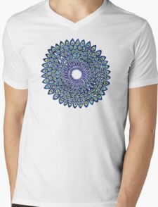 Peacock Mandala – Navy & Gold Mens V-Neck T-Shirt