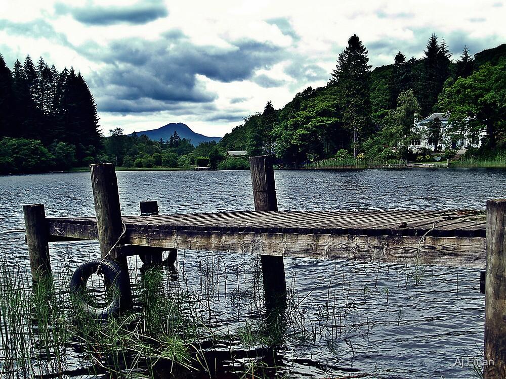 Wooden Jetty On Loch Ard, Scotland by Aj Finan