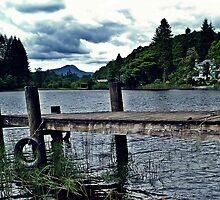 Wooden Jetty On Loch Ard, Scotland by Aj Finan