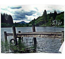Wooden Jetty On Loch Ard, Scotland Poster