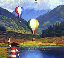 Connemara landscape by lake  with girl and balloons  by Alan Kenny