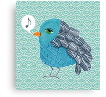 Slightly Depressed Blue Bird Singin' the Blues Canvas Print